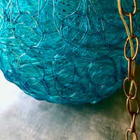 Mid Century Spun Lucite Turquoise Swag Light (c.1960s) - Rush Creek Vintage