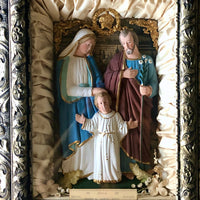 Antique Chalkware Religious Shadow Box with Holy Family (c.1900s) - Rush Creek Vintage
