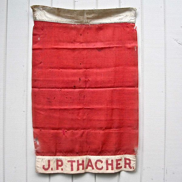 Antique Red New England Family Flag (c.1800s) - Rush Creek Vintage