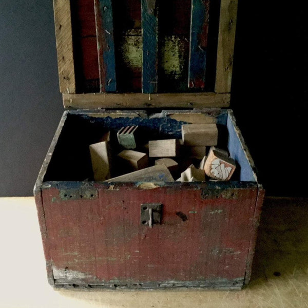 Primitive Toy Box with Wooden Blocks (c.1900s) - Rush Creek Vintage