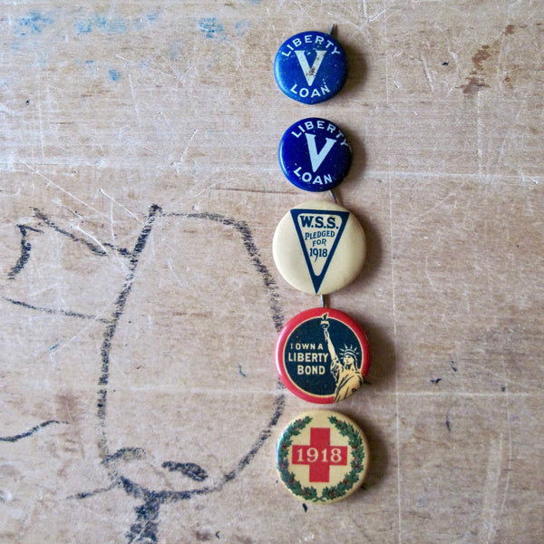 WWI Liberty Bond Pin Back Buttons (c.1918) - Rush Creek Vintage