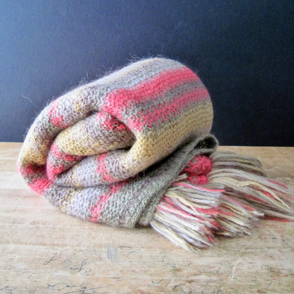 Vintage Knitted Mohair Striped Throw - Rush Creek Vintage