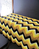 Vintage Crochet Yellow Chevron Afghan Throw, Zig Zag Blanket (c.1960s) - Rush Creek Vintage