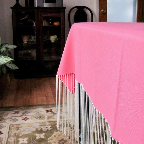 Bohemian Fringed Square Pink Tablecloth - Rush Creek Vintage