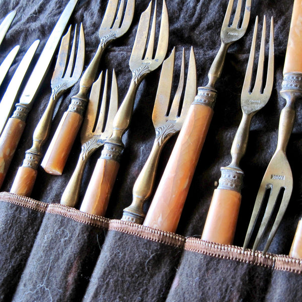 Antique French Brass & Celluloid Flatware (c.1900s) - Rush Creek Vintage