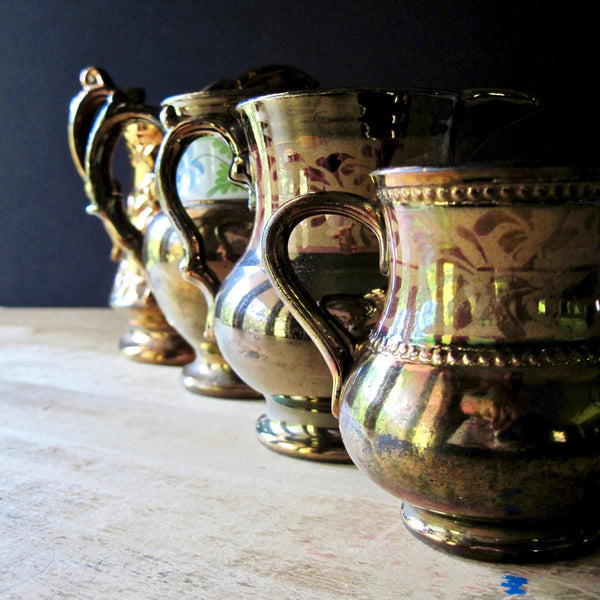 English Copper Lustreware Pitchers (c.1800s) - Rush Creek Vintage