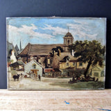 Antique Oil Painting of Village Scene by Florence McCoy (c.1800s) - Rush Creek Vintage