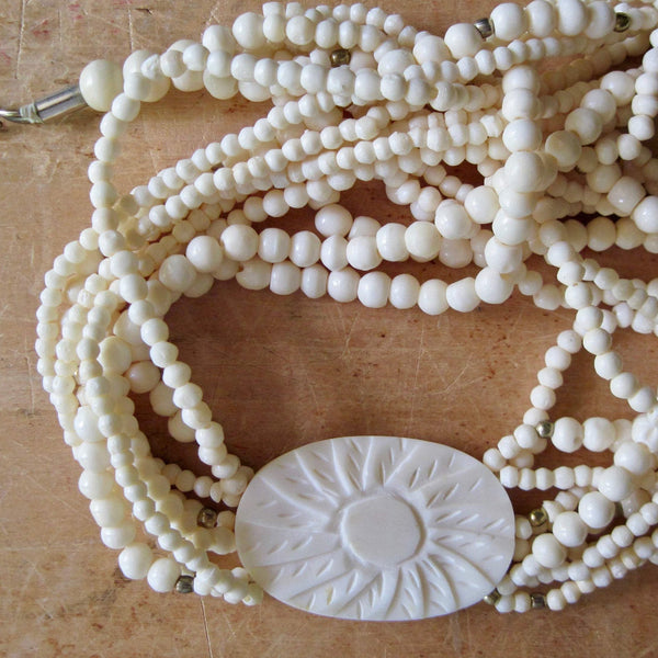 Celluloid Multi Strand Beaded Necklace (c.1950s) - Rush Creek Vintage