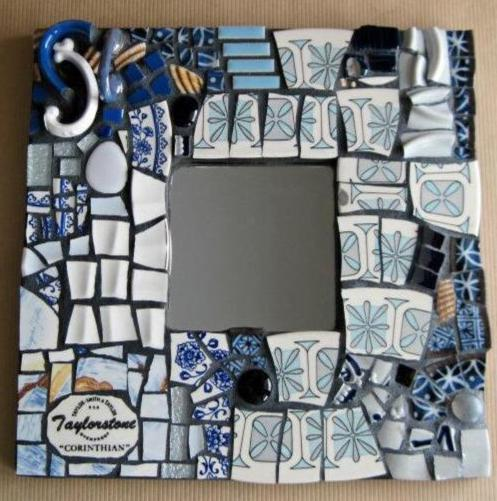 Upcycled Mosaic Blue Framed Mirror - Rush Creek Vintage