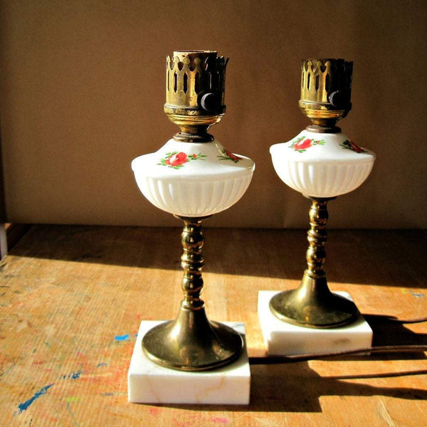 Vintage Milk Glass Table Lamps with Hand Painted Red Floral (c.1950s) - Rush Creek Vintage