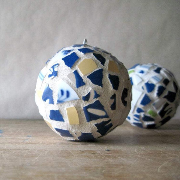 Blue and White Mosaic Christmas Ornaments - Rush Creek Vintage