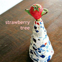 Upcycled Mosaic Strawberry Christmas Tree - Rush Creek Vintage