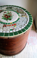 Primitive Round Cheese Box with Mosaic Lid - Rush Creek Vintage