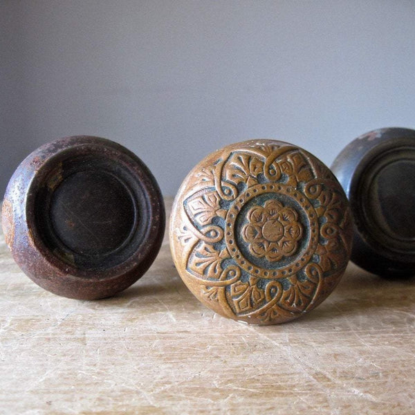 Brass and Cast Bronze Door Knobs (c.1870s) - Rush Creek Vintage