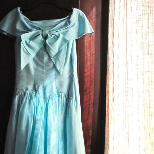 Full Length Aqua Rockabilly Prom Dress (c.1950s) - Rush Creek Vintage