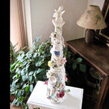 Spectacular Mosaic Christmas Tree with Antique China - Rush Creek Vintage