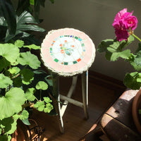 Primitive White Painted Plant Stand with Mosaic Top (c.1800s) - Rush Creek Vintage