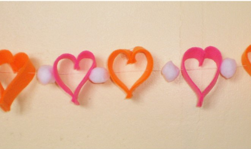 DIY Pom Pom and Heart Garlands