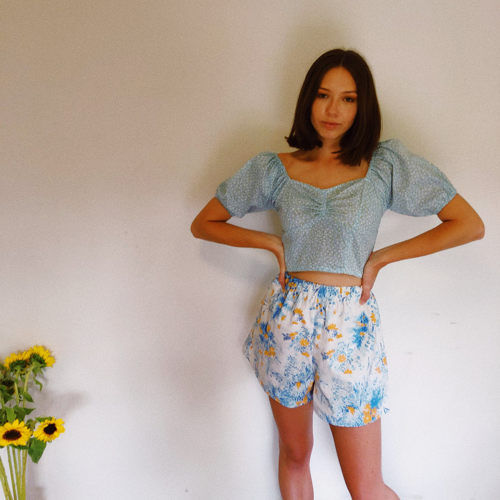 Such A Betty Handmade Puff Sleeve Crop Top Baby Blue Floral
