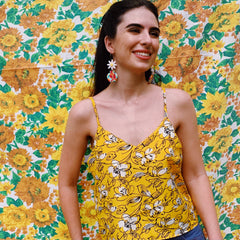 My Oh My Vintage Fabric Cami Top In 80s Abstract Yellow Floral