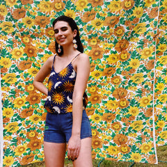 My Oh My Vintage Fabric Cami Top In 90s Sun & Moon Print