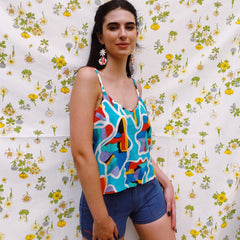 My Oh My Vintage Fabric Cami Top In 80's Pop Art Print