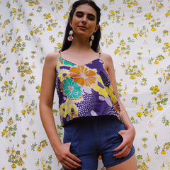 My Oh My Vintage Fabric Cami Top In 70s Flower Power Print