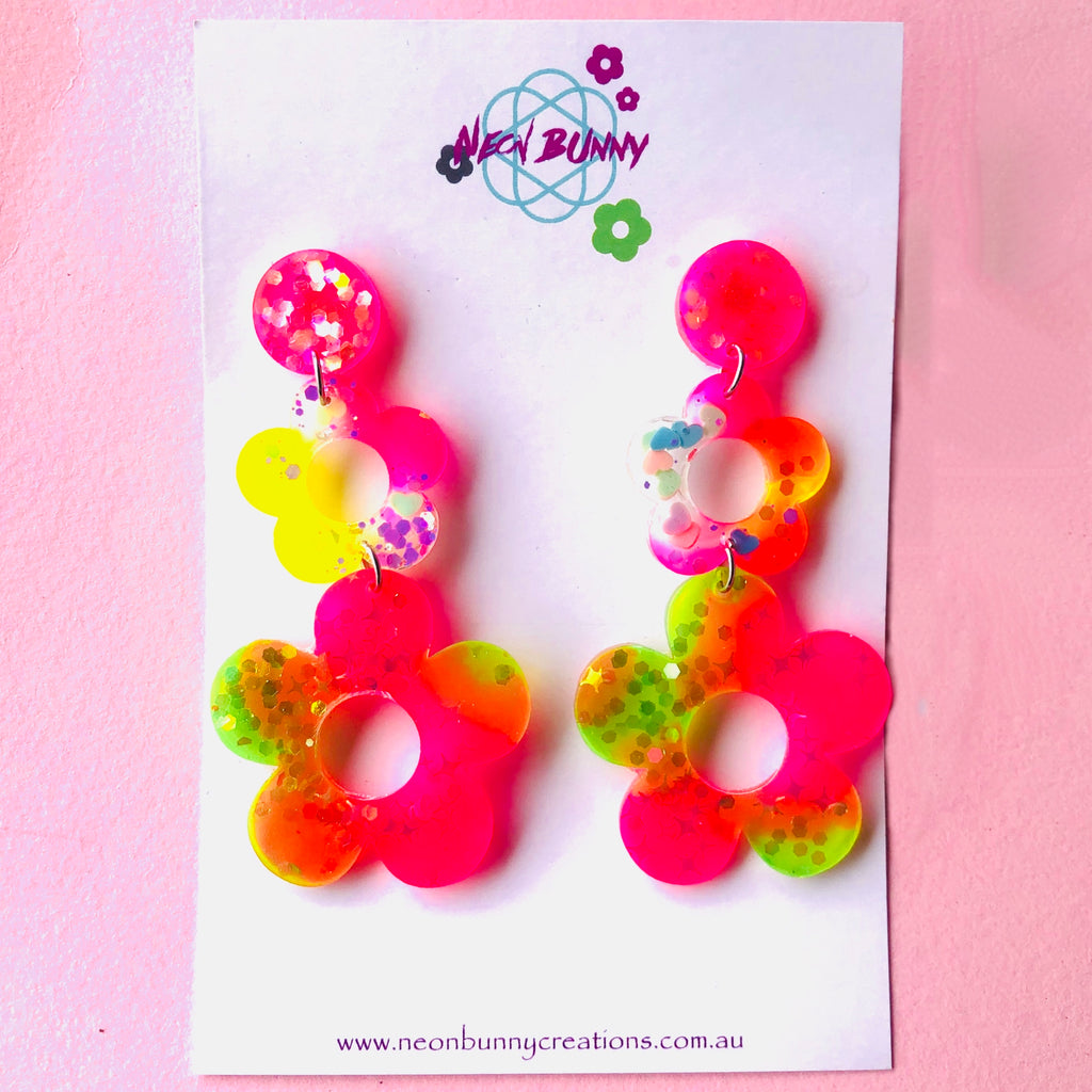 Neon Bunny Creations Handmade Funky Resin Earrings