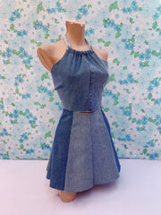UP CYCLED TIE UP DENIM HALTER