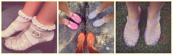 collage jelly shoes