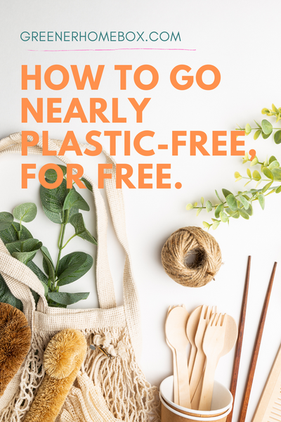 A photograph of a string bag, string, wooden chopsticks and cutlery on a white background with orange text overlayed reading: How to go nearly plastic-free for free