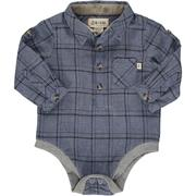 Blue and Grey Plaid Woven Onesie