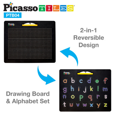 Picasso Tiles Large Double Sided Magnetic Drawing Board- Lower Case Numbers and Freestyle