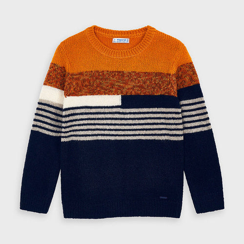 Orange and Navy Striped Sweater