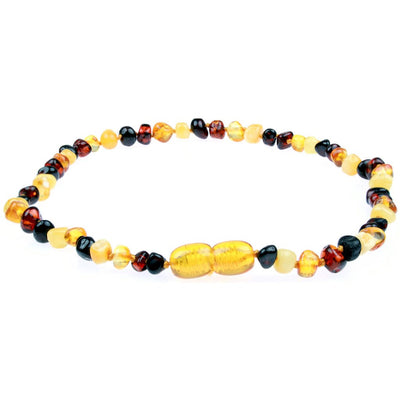 Amber Teething Necklace- Polished Multicolor