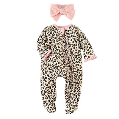 Leopard Sleeper and Headband Set