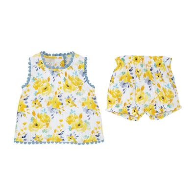 Floral Pinafore Bloomer Set