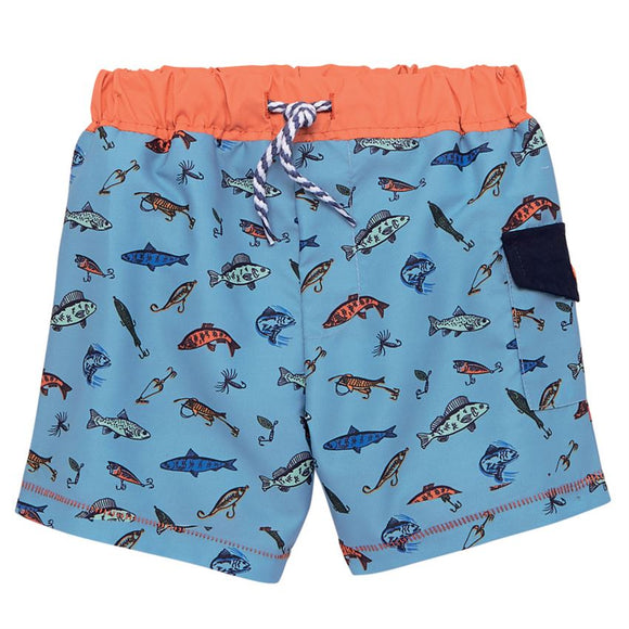 Blue Fish Swim Trunks