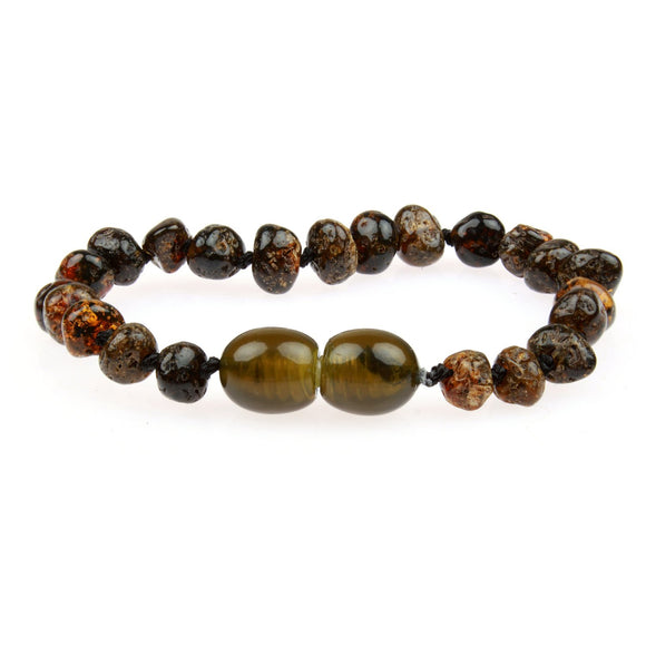 Amber Teething Bracelet / Anklet - Raw Green Baltic Amber