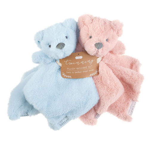 Pink & Blue Twin Bear Woobie Set