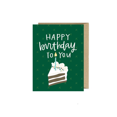 Greeting Card- Green Birthday Cake Card