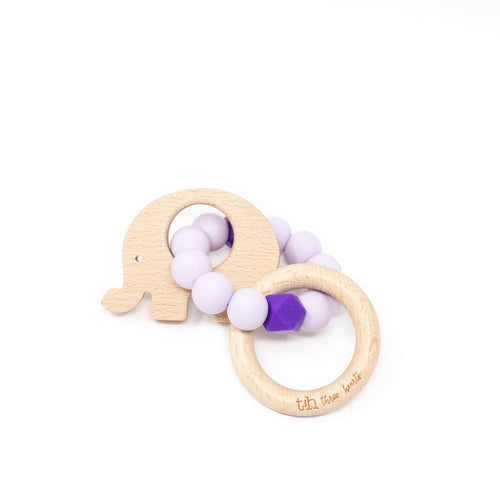 Elephant Teething Rattle- Lavender Fog