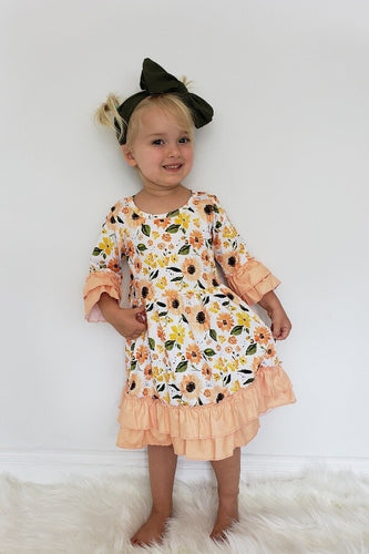 Peachy Retro Fall Dress