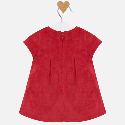 Cherry Corduroy Dress with Rosette-Cardigan Included