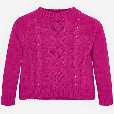Mayoral Knit Pullover Sweater- Fuchsia