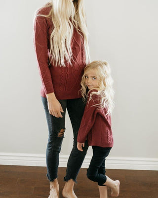 Elizabeth Mommy & Me Cable Knit Sweater- Maroon