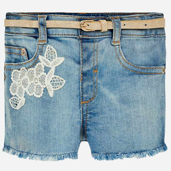Denim Shorts with Lace Flower Overlay