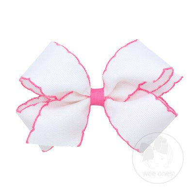 King Moonstitch Bow- White with Hot Pink Stitching