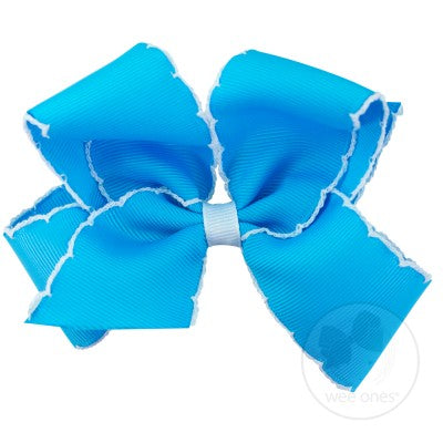 King Grosgrain Bow-Blue with White Stitching