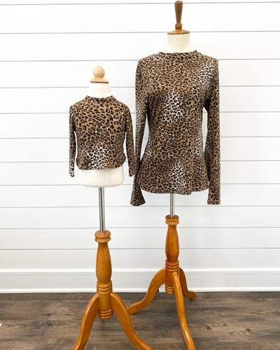 Camille Mommy & Me Faux Turtle Neck- Spotted Leopard